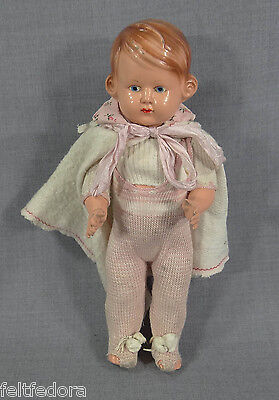 ANTIQUE GERMAN CELLULOID DOLL GIRL TURTLE MARK 29cm. JOINTED HAND PAINTED FACE