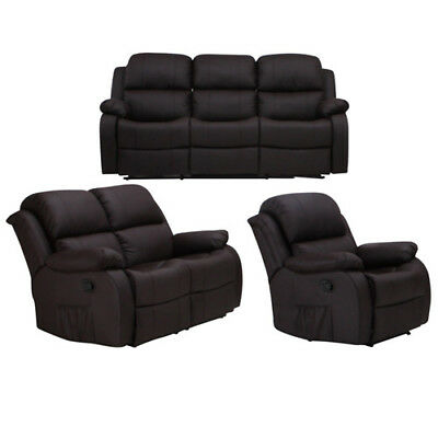ledersofa garnitur 3 2 1 mit relaxfunktion regis eur picclick de. Black Bedroom Furniture Sets. Home Design Ideas