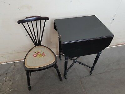 Unusual Tiny Antique Kids / Childrens Desk / Table And Chair Set Collection Only