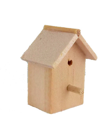 Dolls House Miniature Garden Accessory Unfinished Natural Wood Bird House Box
