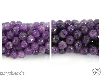 10mm & 8mm Faceted Amethyst Round Beads