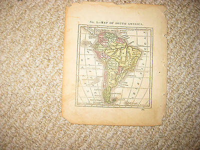 Antique 1835 South America Miniature Handcolored Map Brazil Argentina Venezuela