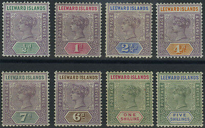 Leeward Islands, SG 1/8, 1890 set of 8 values to 5/- fine mint, complete, Cat £1