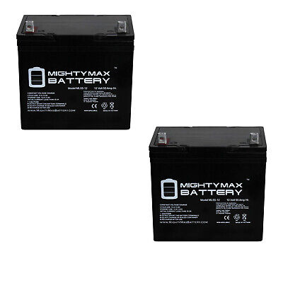 2X 12V 55AH Batteries Invacare M91 Battery Replacement Set by SigmasTek
