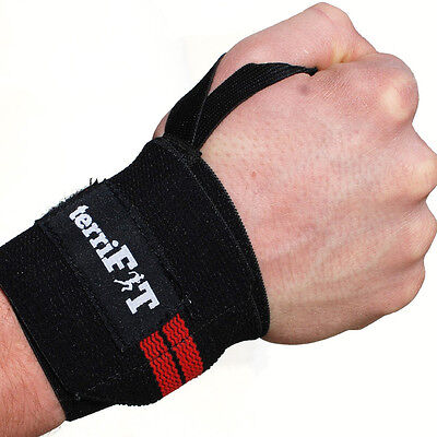 terriFIT Medium Duty CrossFit and Weight Lifting Wrist Wraps - Black/Red