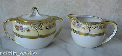 1920's Beautiful RS Tillowitz CREAM Covered SUGAR, Prussia, Silesia handpainted