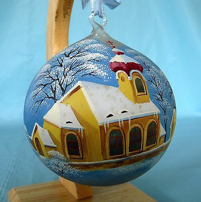 Large Hand Painted Czech Glass Ball Christmas Ornament with Church Snowy Scene