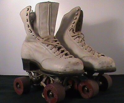 Vintage Betty Lytle / Hyde Chicago Roller Skates 3 White Leather girls lotB