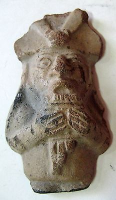 Mexican Pre-Columbian Very Rare Antique Clay Figur Of Man Playing The Pan Flute