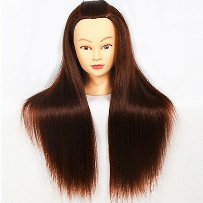 """Salon Hairdress Cosmetology Synthetic Long Hair Training 18""""Head Mannequin+Clamp"""