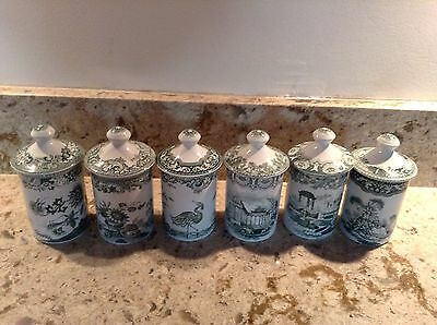 """6 Spode Archive Collection Individual Spice Jars & Lids 3"""""""