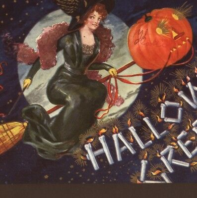 Rare..! Halloween Glamour Witch,boa,valkyrie Winged Hat,whip,jol Broom Postcard