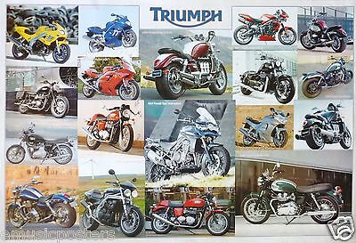 """Triumph """"collage Of 2002 - 2012"""" Motorcycles Poster -British Motorbikes & Cycles"""