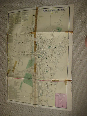 Huge Antique 1871 Greenfield Center Franklin County Massachusetts Handcolor Map