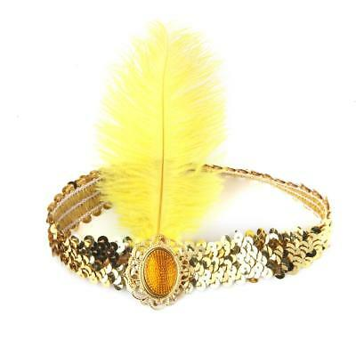 VTG SEQUINS FEATHER HEADBAND 30s 1920s FANCY DRESS CHARLESTON HAIR BAND FLAPPER