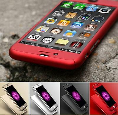 New Hybrid 360° Hard Ultra thin Case +Tempered Glass Cover For iPhone 5 6 7 Plus