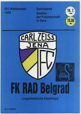 IFC 16.07.1988 FC Carl Zeiss Jena - FK Rad Belgrad in Gera, InterToto Cup