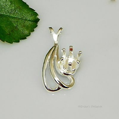 6mm Round Fancy Swirl Snap Tite Sterling Silver Pendant Setting