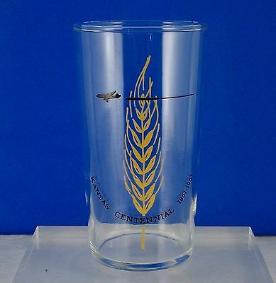 "SOUVENIR KANSAS CENTENNIAL 1961 GLASS TUMBLER FEDERAL GLASS Mark 4 3/4"" tall"