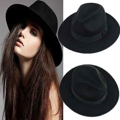 Vintage Retro Women Ribbon Wide Brim Faux Wool Felt Hat Warm Winter Fedora Cap