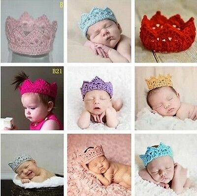 Newborn Baby Girl Boy Crochet Knit Costume Photo Photography Prop Crown Hats