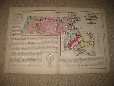 Antique 1871 Massachusetts Geological Geology Map Barnstable County Nantucket Nr