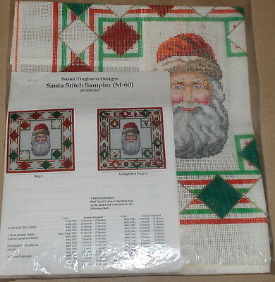 "Susan Treglown ""Santa Stitch Sampler"" Handpainted Needlepoint Canvas Kit"