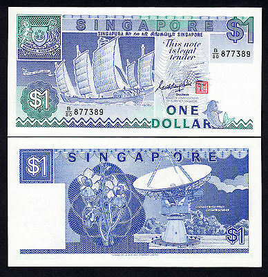 Singapore One Dollar $1 Note P. 18a Gem UNC Prefix B/80