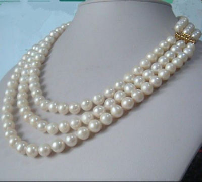 """3 ROW AAA 9-10MM natural Akoya white Pearl Necklace 18-20""""L 14k clasp"""