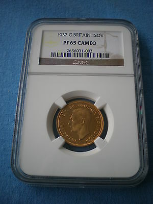 Rare 1937 King George Vi Ngc Proof 65 Cameo Full Gold Sovereign Coin