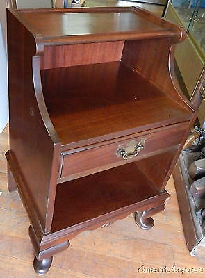 Antique Solid Mahogany Queen Anne Night Stand Lamp End Table Carved Fan 1940's