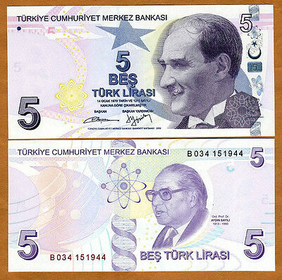 Turkey, 5 Lira L. 1970 2009 (2013), Pick 222A, UNC