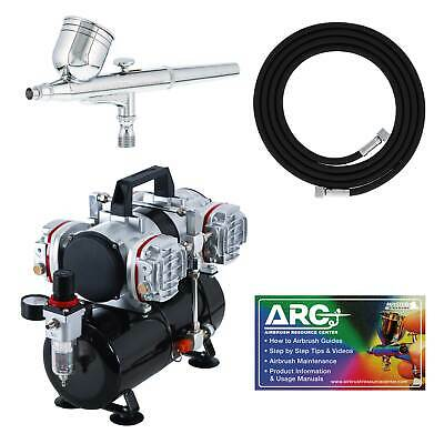 MULTI-PURPOSE Dual-Action AIRBRUSH KIT SET Pro 4 Cylinder Piston Air Compressor