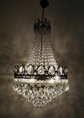 Antique /// Vintage  French Basket Style Brass &  Crystals  Chandelier