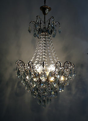 Spider Style Antique Brass &  Crystals  Chandelier Vintage Lamp