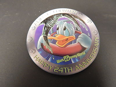 Disney Button Pin Walt Disney World Happy 24th Anniversary Alien Encounter