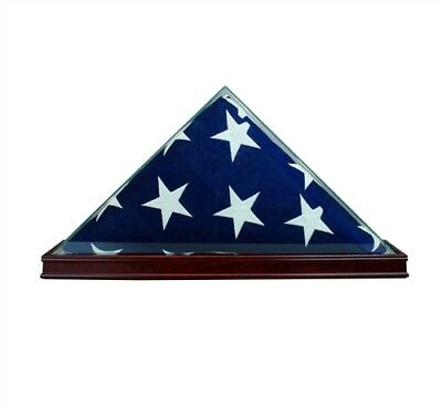 REAL GLASS CHERRY WOOD 5 x 9.5' FLAG DISPLAY CASE for Burial Funeral Veterans