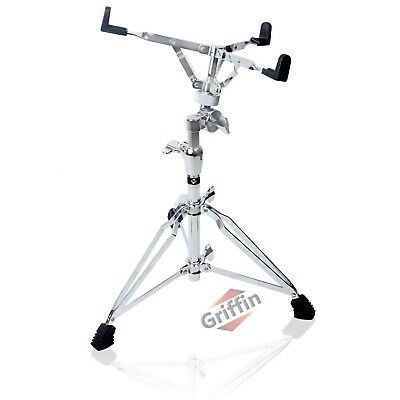 Snare Drum Stand Griffin Heavy-Duty Hardware Double Braced Chrome Percussion