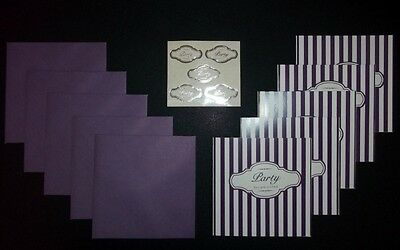 5 Purple & White Striped Party Invitations With Purple Envelopes & Seals