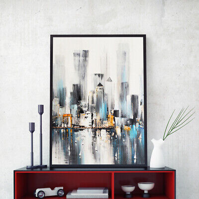 Hand-Painted Oil Painting - Rainy Harbor S | Modern Abstract Decor Unframed Wall