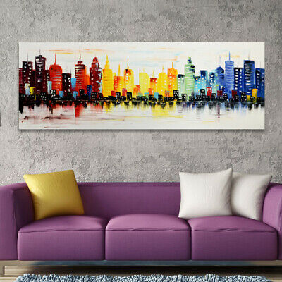 Hand-Painted Oil Painting - Downtown Blues | Modern Abstract Decor Unframed Wall