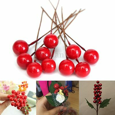 100x Artificial 8mm Christmas Red Holly Berry Tree Display Window Decor Ornament