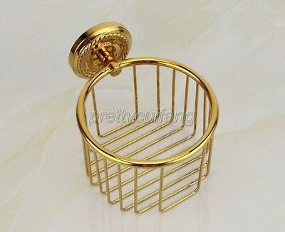 Bathroom Accessory Gold Color Brass Wall Mounted Toilet Paper Roll Holder Pba609
