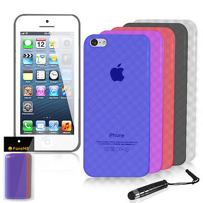 Diamanti Design Custodia Gel TPU Custodia, Cover per Iphone 5C + Penna Stilo