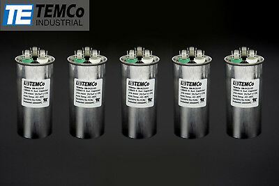 TEMCo 35/5 MFD uF Dual Run Capacitor 370 440 vac Volts 5 LOT AC Motor HVAC 35+5