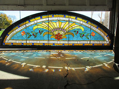 ~ Antique American Stained Glass Combination Window Transom ~ 96 X 30 ~