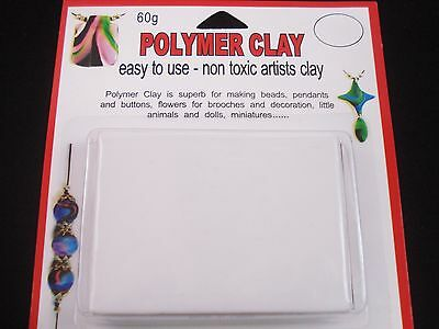 Modelling Polymer Clay Art/Craft Oven Bake 60g White Art Design FREE POSTAGE