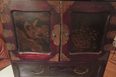 ANTIQUE JAPANESE CABINET 19th CENTURY LACQUER GOLD DECORATION