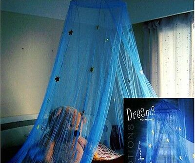 Blue Star Lace Mosquito Net Canopy Single Double Queen King Bed Size