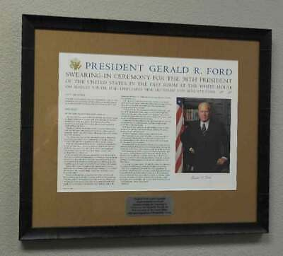 Scarce Signed Gerald Ford Swearing In Ceremonies Display